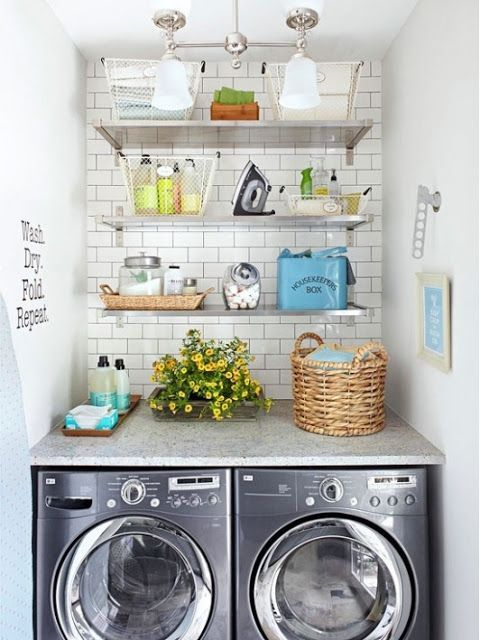 A place for everything. Shelving, baskets and trays take a small space laundry room and turn it into an efficient and chic space. Make the room feel light and airy with shelving that runs as high as possible to house less used linens, extra detergent and other cleaning supplies. Group similar type items in baskets to organize laundry room essentials so you can find what you need at a glance and add a few pieces of personalization like artwork so the room is not only efficient but stylish.: