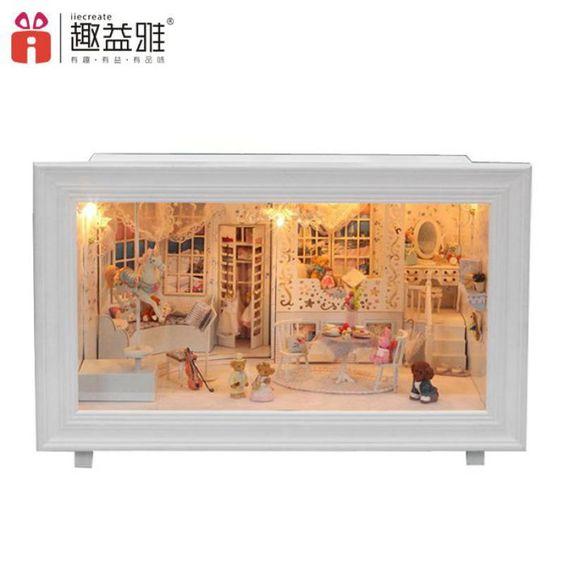 Home Decoration Crafts DIY Doll House large Wooden Dolls House 3D Miniature Model Kit  dollhouse Furniture Room LED Light k-002