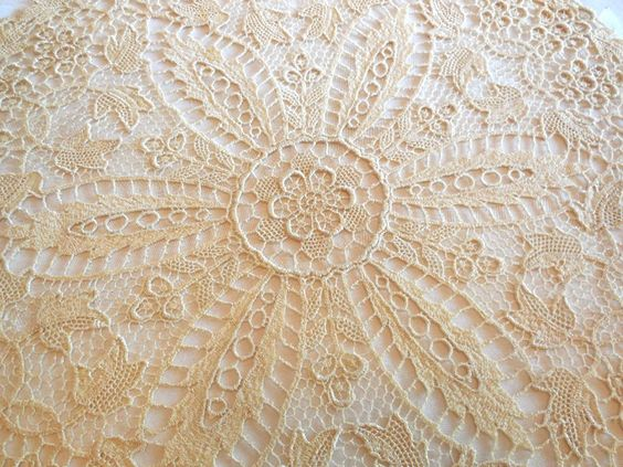 """Vintage Doiley Round Victorian Revival Art Nouveau Cream Floral 15"""" Retro Wedding Shower Birthday Great Gift Home Decor by JewlsinBloom on Etsy"""