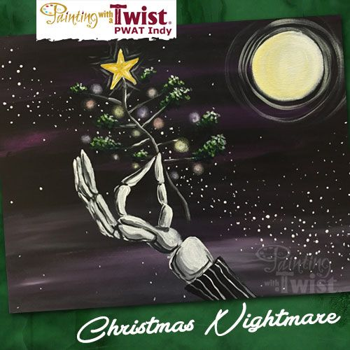 """You know us by now--we can be a little twisted, like intertwining two holidays into one! Join us Sunday, Dec. 6th for """"Christmas Nightmare"""" at 6pm. Join us at Painting with a Twist – Indy! ©Painting with a Twist. http://bit.ly/christmasnightmare"""