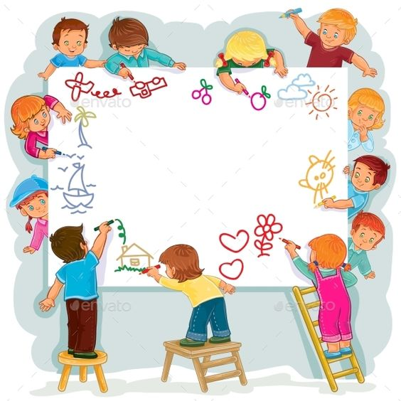 Vector illustration of happy children draw on a large sheet of paper, side view