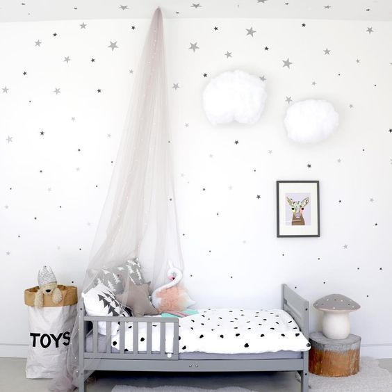 ¿Quieres ver un dormitorio para niña mágico? ¿Te gustan las estrellas? Te presento una habitación con cierto aire de cuento y llena de vinilos infantiles. Estos vinilos son soluciones rápidas que pueden ayudarte a cambiar, por completo, cualquier espacio que necesites. Las estrellas plateadas no solo las verás en las paredes, estas formas se reparten …: