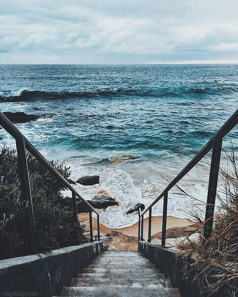 Descending The Sandy Steps In My Bare Feet Rough Wood Warmed By The Now Setting Sun My Hand Slides Over The Rail As I Ma Ocean Vibes Ocean Nature Photography