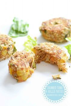 Crumbed Tuna and Vegetable Patties I just love these little tuna and vegetable patties. They are a fast and versatile little meal packed full of nutritional goodness – and a great finger food for toddlers. So tasty, you can make them with or without the tuna, melt cheese on top, eat them hot or cold …