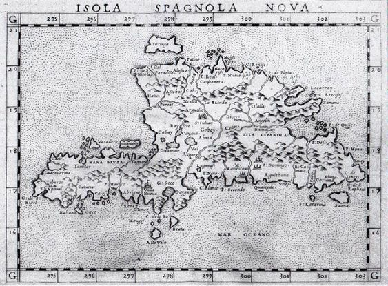Hispaniola Map etched by Valgrisi in 1562 (Villa Nueva is the town we now call Jacmel)