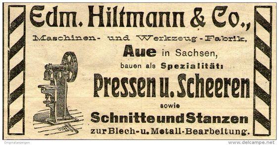 Original-Werbung/ Anzeige 1910 - PRESSEN UND SCHEEREN / HILTMANN - AUE - ca. 100 x 50 mm