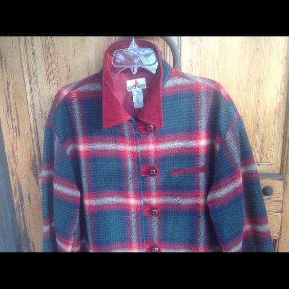 """Plaid Jacket , size L. This is a great cranberry red and green plaid jacket,  ladies size L. Sleeve length is 23""""  shoulder width is 22 1/2 """" across.  Measures from shoulder to hem 31"""" , Collar is made of corduroy, and button tabs are of same corduroy. Classic buttons  , lined in cranberry lining. This is a great Jacket for a stroll in the country , or keep in the car for unexpected cool weather .  Pare with a fun scarf and boots and you've got a classic look for any occasion. Jackets…"""