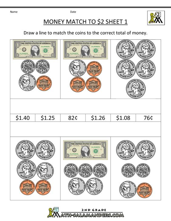 Printables 2nd Grade Worksheets Printable money worksheets for 2nd grade free printable match to 2 dollars 1