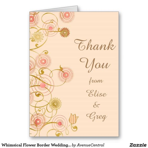 Whimsical Flower Border Wedding Thank You Stationery Note Card by Avenue Central. A pretty springtime thank you card that is fully customizable!