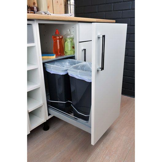 Rangement coulissant 2 poubelles 40cm delinia - Poubelle recyclage cuisine ...