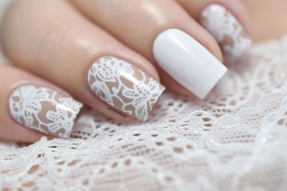 White Floral Lace Nails by Marine Loves Polish