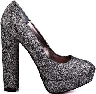 Paris Hilton Heel Pewter Glitter Heels a Sparkly Shoes for Hollywood Party in Celebrity Club Fun or Bridal Shoe Idea