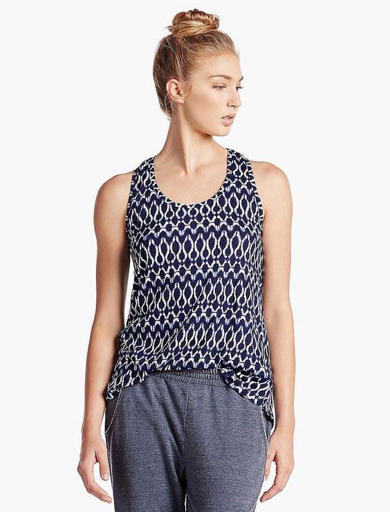 Lucky Brand Shibori Ink Tank Womens - Blue Multi (M)