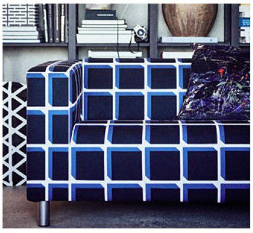 Ikea Klippan Sofa Slipcover Alvared Black Blue White Geometric 603 618 43 New Ikea Modern Ikea Klippan Sofa Slipcovered Sofa Slipcovers