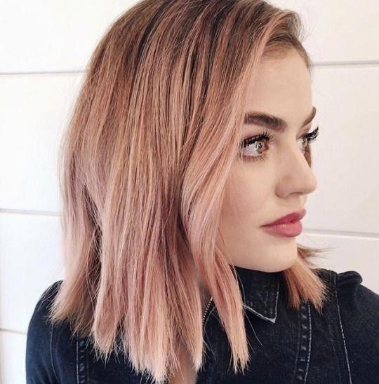Lucy Hale Splendid Hair Color Rose Gold Gold Hair Colors Rose Gold Hair Balayage