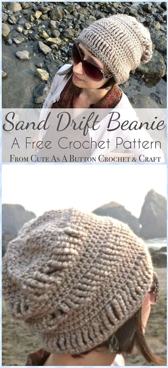 Crochet Sand Drift Beanie Hat Free Pattern - Crochet Beanie Hat Free Patterns