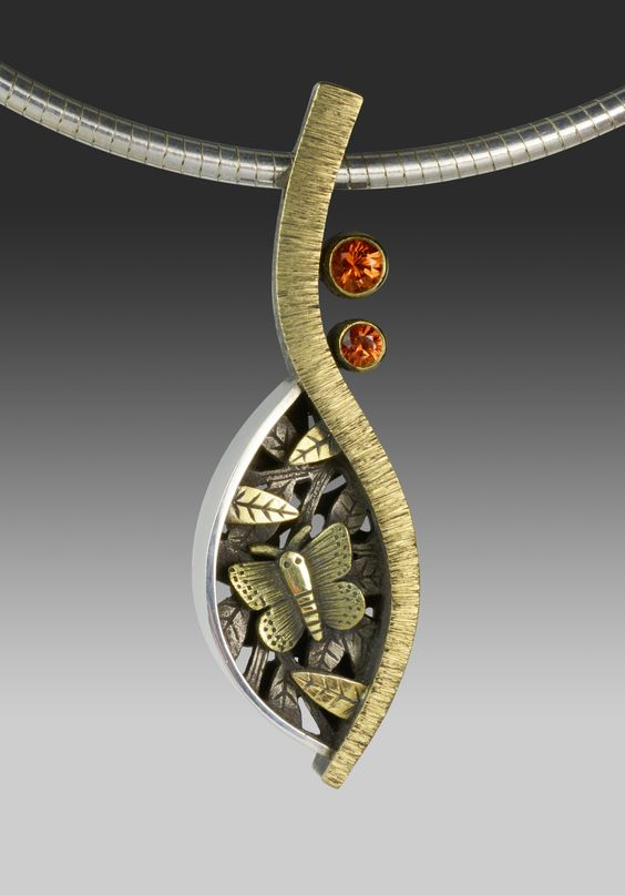 Suzanne Williams, sterling silver, 18k gold, orange sapphires from suzannewilliamsjewelry.com: