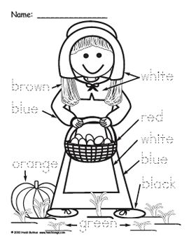 Heidisongs resource pilgrim boy and girl color word for Boy pilgrim coloring page