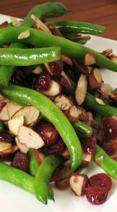 green beans with cranberries & almonds