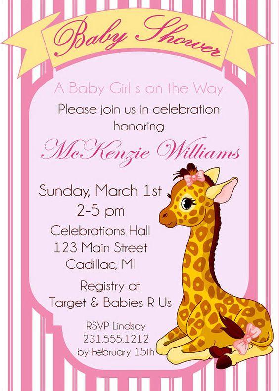 Baby Giraffe Shower Invitation, Giraffe Printable Shower Invitation