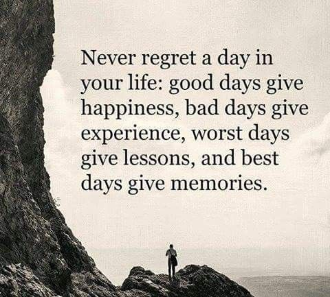 Life Quote Never Regret A Day In Your Life Good Days Give Happiness Bad Funny Inspirational Quotes Inspirational Quotes Motivation Good Life Quotes