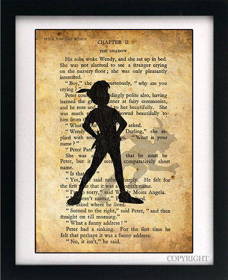 Peter Pan & Wendy Shadow Art Book Print  A4 or A3 by circlewallart