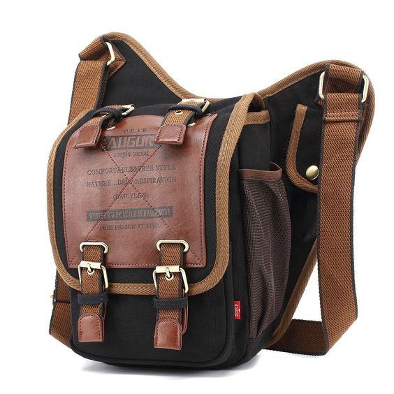 MTZ Vintage Canvas Shoulder Bag Crossbody Sling Pack Military Messenger Bag School Bags Chest Leather Patchwork Messenger Bag for Mens Boys Black: Amazon.co.uk: Shoes & Bags