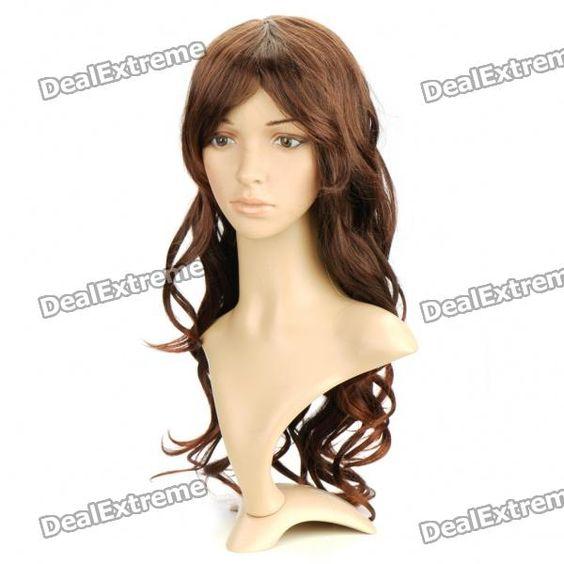 Fashion Long Curly Hair Wig - Brown