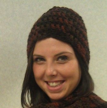 Hat pattern using Charisma yarn by Loops and Threads, available at Michael
