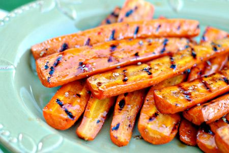 Balsamic vinegar and honey glazed and grilled carrots. Yum.