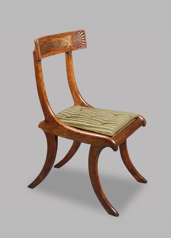A Fine Set of Four Regency Rosewood and Faux Rosewood Klismos Chairs after a Design by Thomas Hope