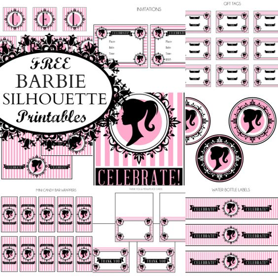 """{FREE Vintage Barbie Party Printables from Printabelle} The collection includes: invitations, gift tags, large party circles, """"Celebrate"""" banner (large and small), mini candy bar wrappers, party circles, treat toppers, thank you & menu/place cards, water bottle labels."""