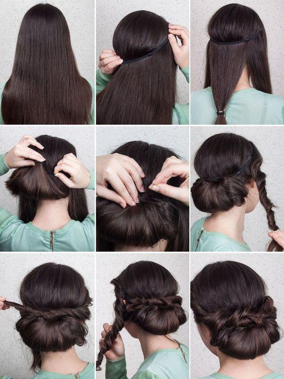 Eingedrehter Chignon Haarband Frisur Haarband Frisur Anleitung Geflochtene Frisuren