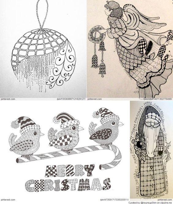 Black Circleart: Christmas Zentangle Patterns