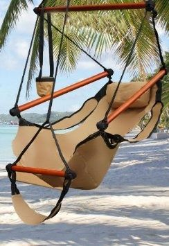 New Deluxe Tan Sky Air Chair Swing Hanging Hammock Chair W\  Pillow  Drink Holder