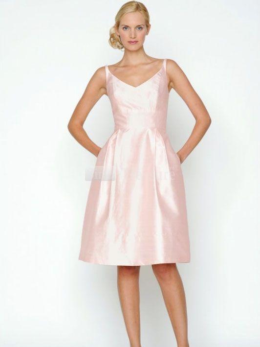 Pearl Pink V-Neck Knee Length Taffeta Bridesmaid Dress