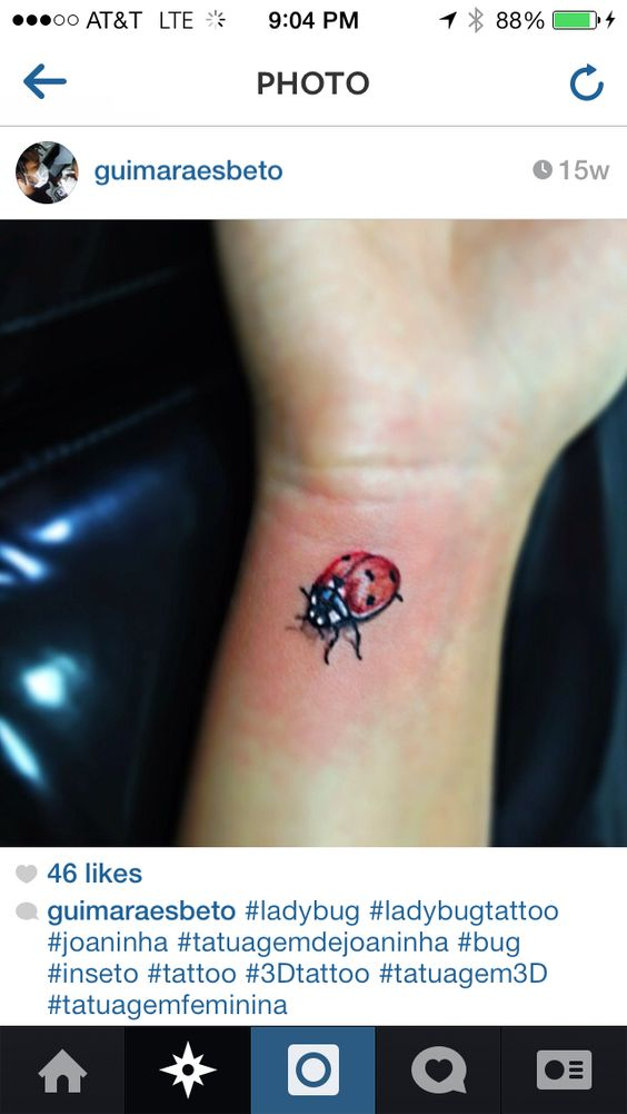 3d LadyBug Tattoo. It would need to be smaller and pink.