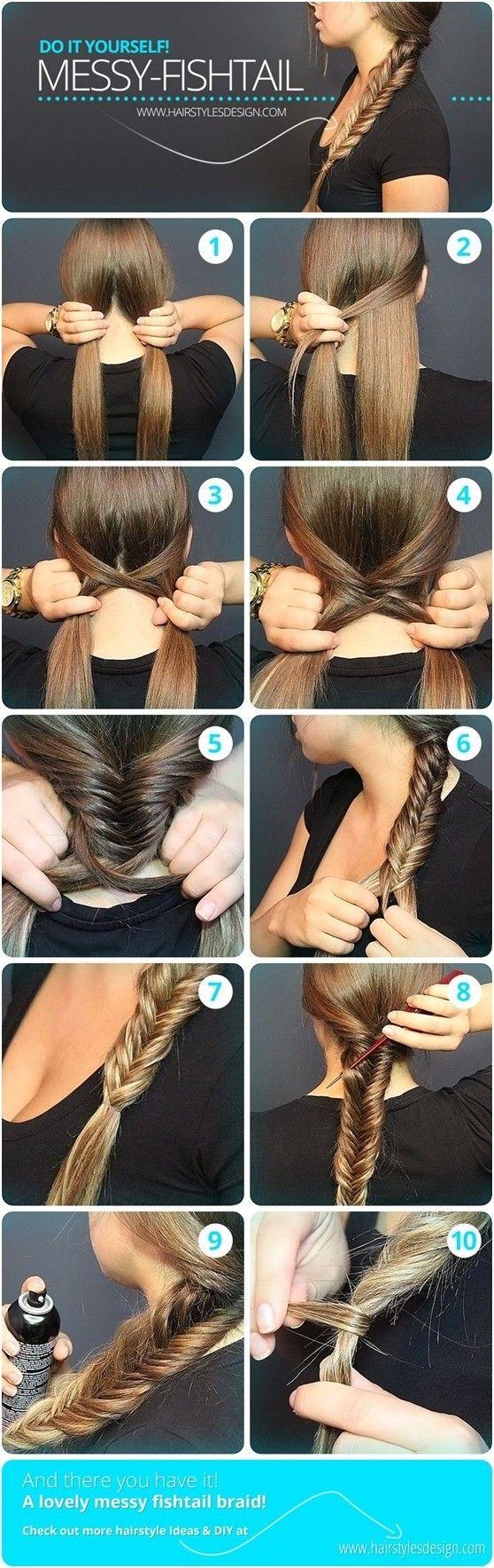 Messy Fishtail Braid Tutorial: Side Loose Braided Hairstyles #hair #braid