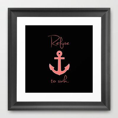 Refuse to Sink Anchor Peach Salmon Framed Art Print by Rex Lambo - $31.00