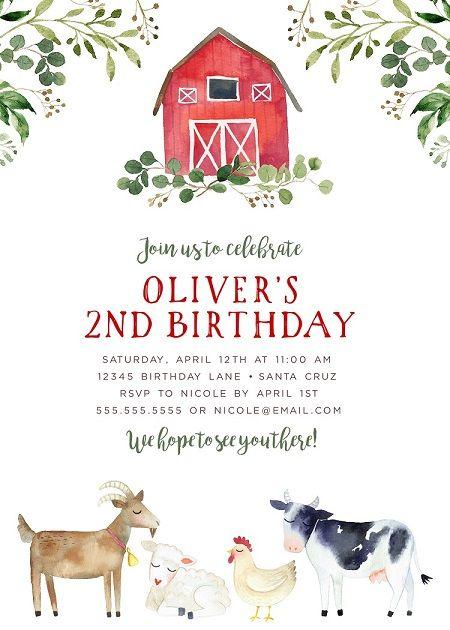 farm birthday invitation boy editable