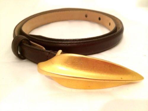 Robert LEE MORRIS German Designer Calfskin Italy Leather Brown Sculpted Golden L