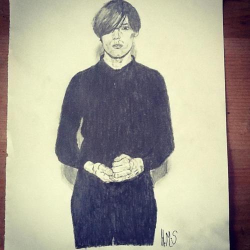 A pencil drawing of Rhys Webb.