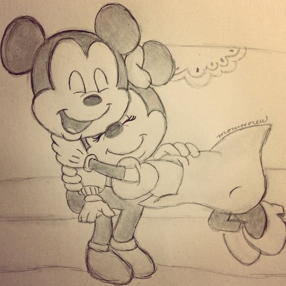 Mickey Mouse And Minnie Mouse Kissing Drawings