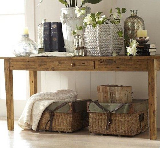 Beautiful barn homes and console table decor on pinterest for Pottery barn foyer ideas