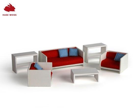 wohnzimmer zum puppenhaus passende schlichte möbel mit bezügen aus ... - Barbie Wohnzimmer Möbel