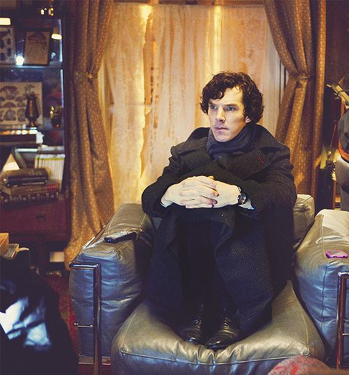 """I feel like this is Sherlock's natural waiting pose    he looks like a kid waiting to be picked up"" (Tumblr):"