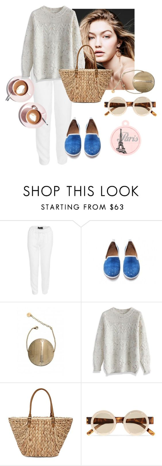 """""""CASUAL PARIS"""" by kreateurs ❤ liked on Polyvore featuring Constance Boutet, Martha Stewart, Chicwish, Straw Studios and Le Specs"""