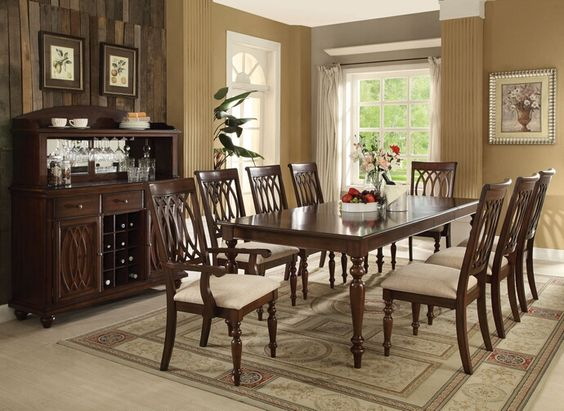 7 pc Farrel collection walnut finish wood dining table set with turned wood…