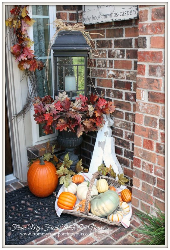 From My Front Porch To Yours- Falling For Fall Porch Party- Faux Pumpkins Mixed With Real Pumpkins