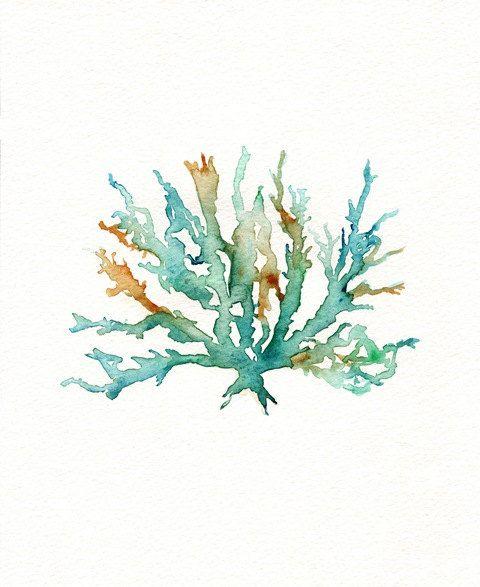 No 2 Sea Coral  / Teal / Aqua / Yellow Ochre / by kellybermudez, $20.00